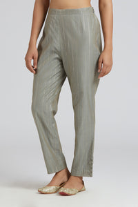 Striped straight pants - Grey
