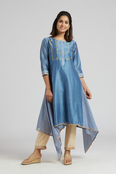 Asymmetric Kurta with Side Checks - Blue