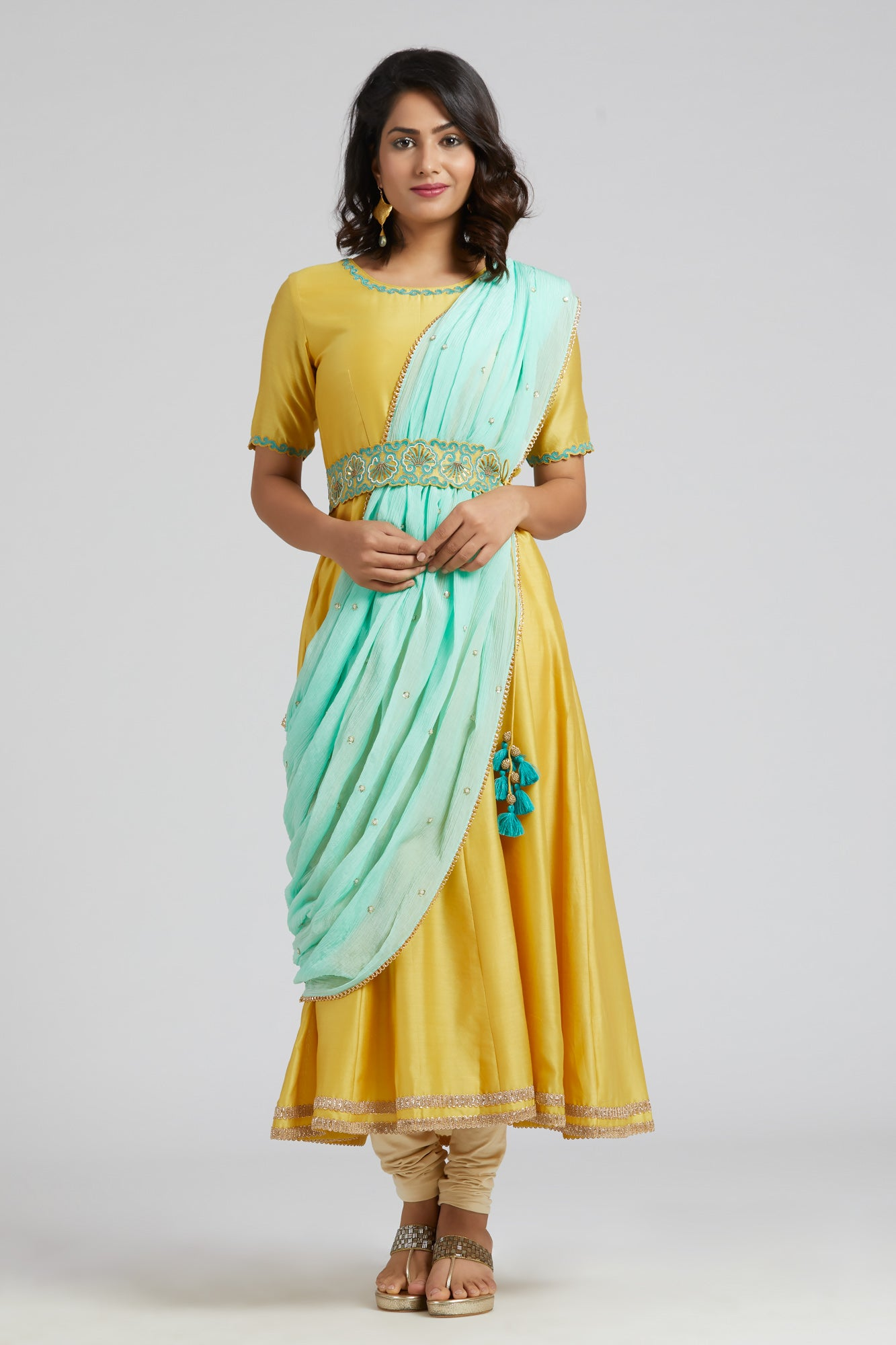 Anarkali with Drape Dupatta - Yellow