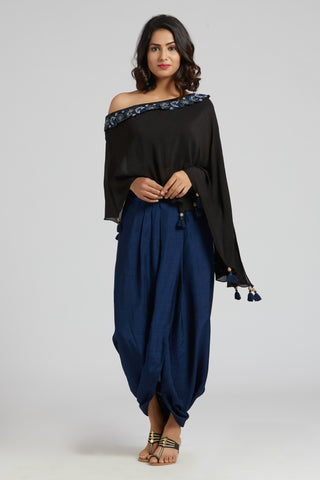 Off Shoulder Cape with Overlap Skirt - Black with blue