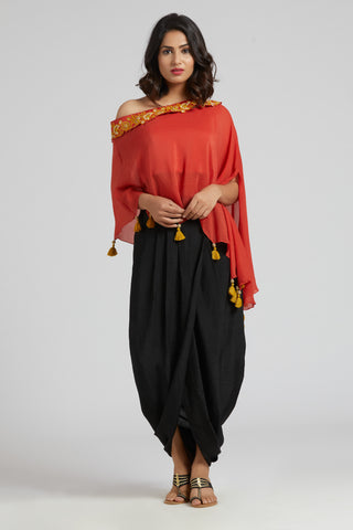 Off Shoulder Cape with Overlap Skirt - Red with black