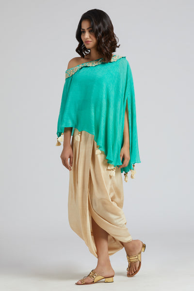 Off Shoulder Cape with Overlap Skirt - Turquoise with off-white