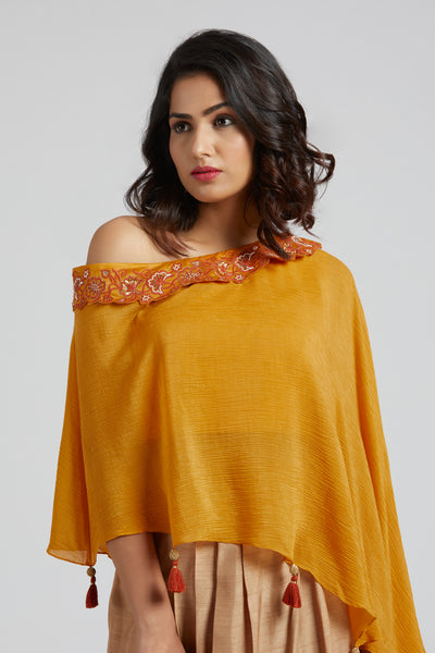 Off Shoulder Cape with Overlap Skirt - Yellow with golden beige