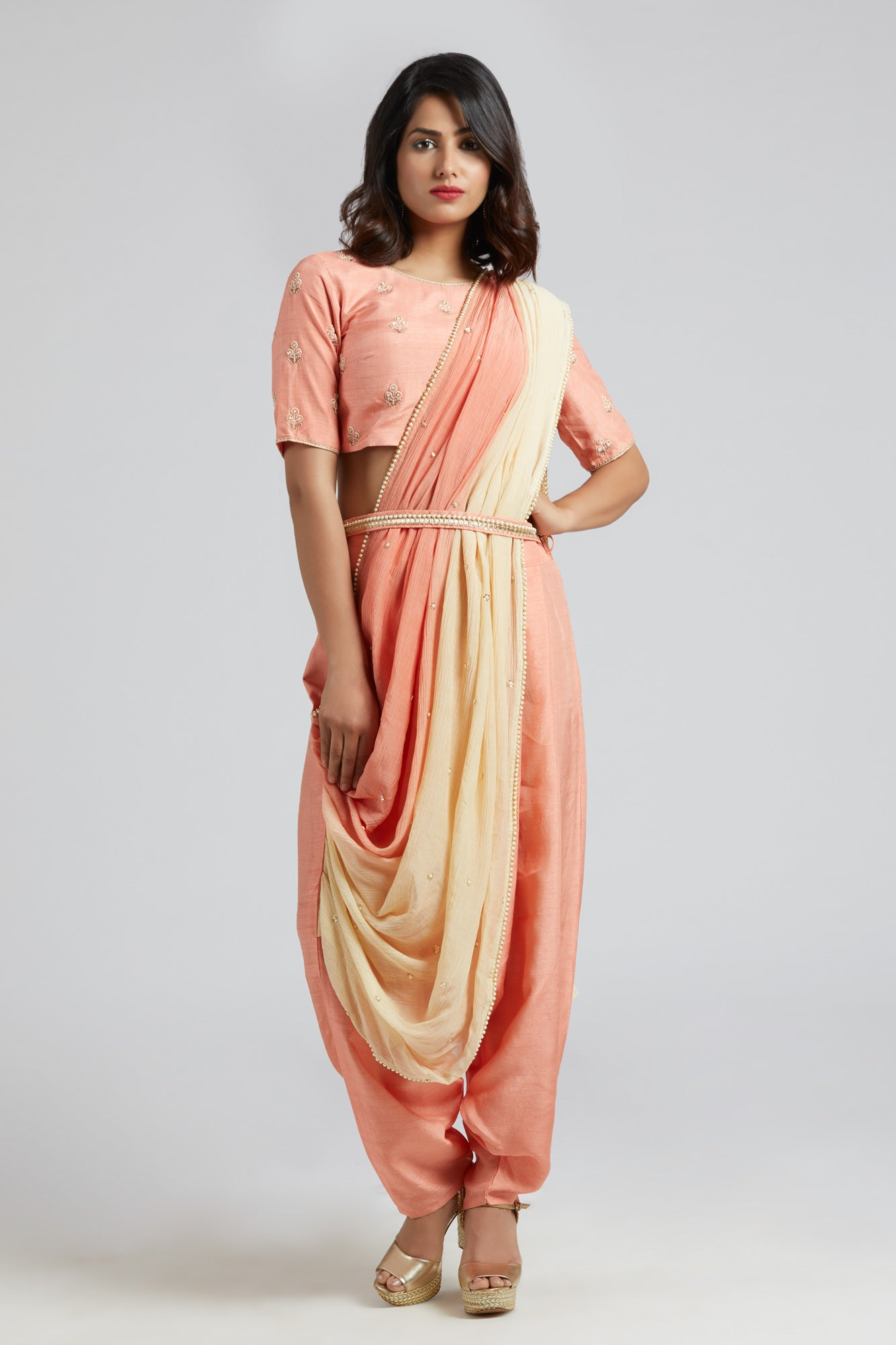 Drape Dhoti Saree - Peach