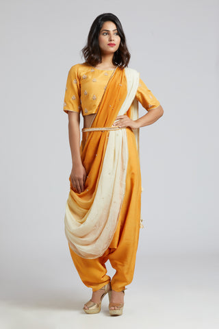 Drape Dhoti Saree - Yellow