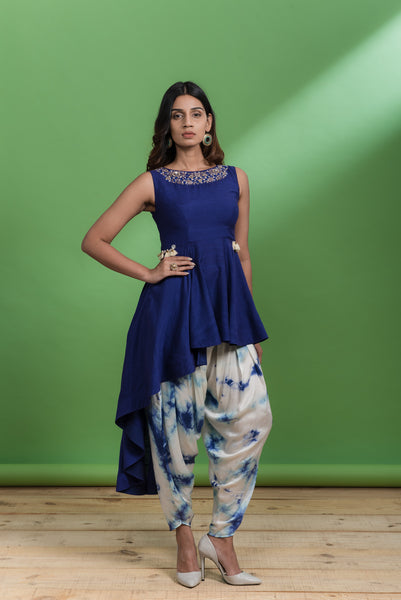 Frill Peplum With Dhoti set - Purplish Blue