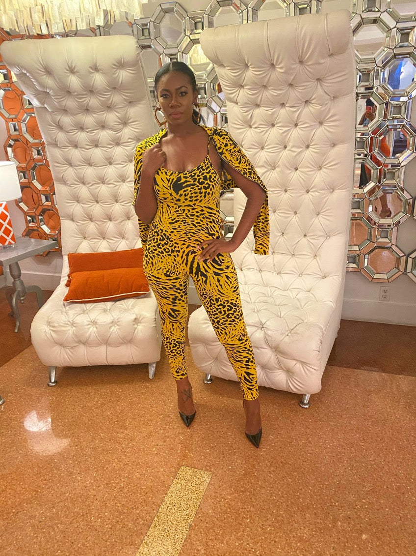 Yellow Leopard Jumpsuit w Jacket