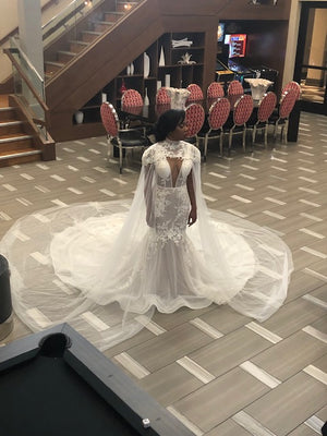 Cape and Illusion Nude Fitted Bridal Gown with Crystals