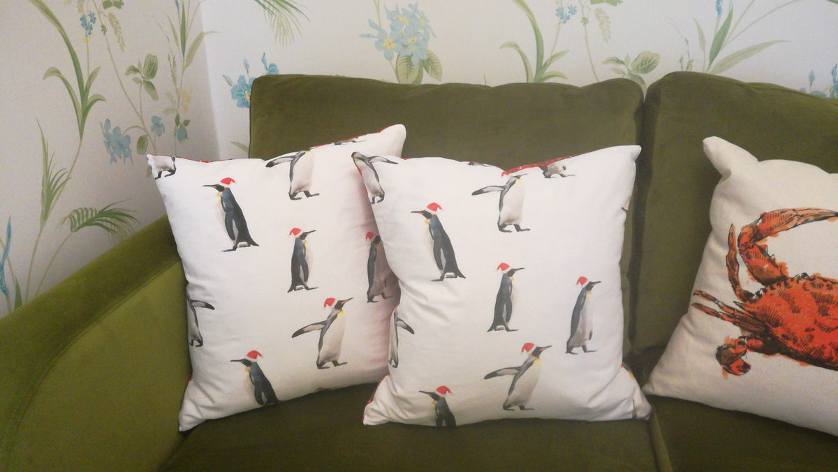 Penguins Christmas Cushion