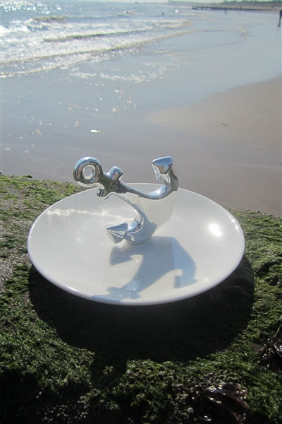 Silver Anchor Porcelain Trinket Box