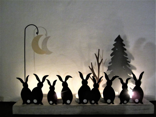 Moon Struck Rabbits Tealight Holder