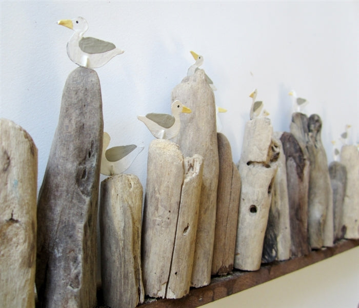 Seagulls on Long Driftwood Base