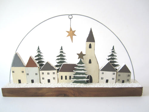 Wooden Christmas Village Scene