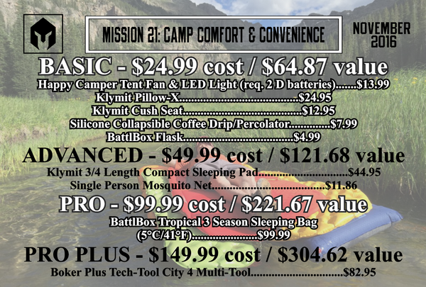 Mission 21 November 2016 BattlBox - Camp Comfort and Convenience
