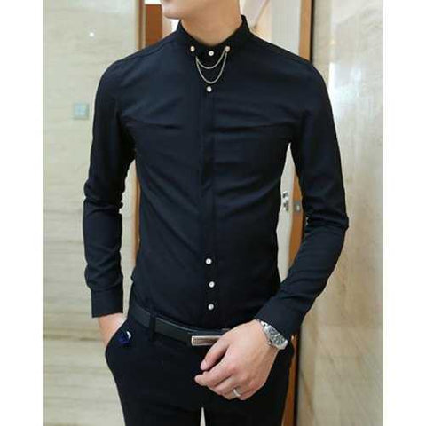 Nightclub Turn-down Collar Solid Color Slimming Metal Chain Embellished Long Sleeves Men's Shirt - Black L