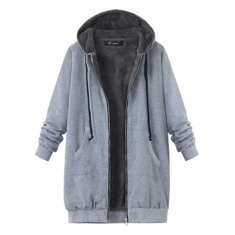 L-4XL Casual Women Zipper Fleece Thick Hooded Coats