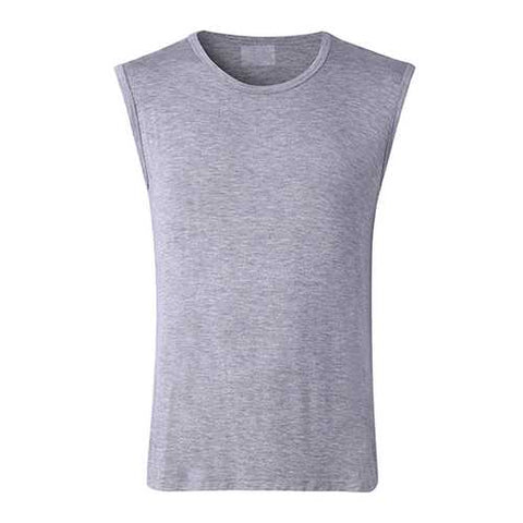 Mens Solid Color Round Neck Tank Tops