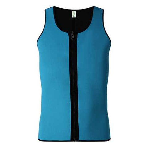 Mens Sport Sided Wear Quick Wicking Zipper Rubber Body Shaper Tank Tops