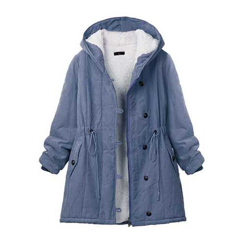 Casual Women Pure Color Hooded Drawstring Fleece Inside Thick Coat