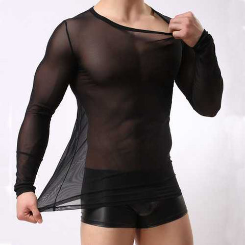 Sexy Slim Transparent Breathable Round Neck T-shirt Casual Men's Net Long Sleeves T-shirt