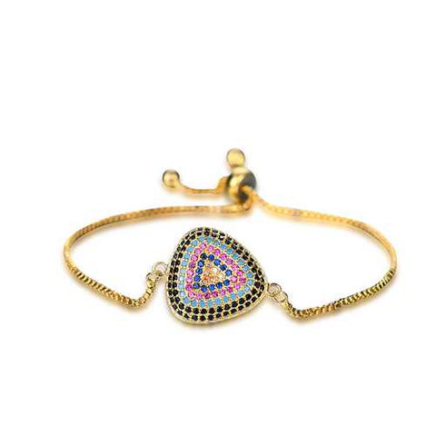 Exquisite Triangle Colorful Zircon Bracelet Adjustable Metal Cuff Chain