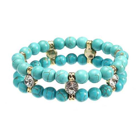 JASSY Antique Turquoise Beads Rhinestone Stretch Bracelet