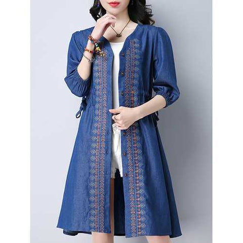 Vintage Women Embroidered V-Neck Button Up Denim Cardigan
