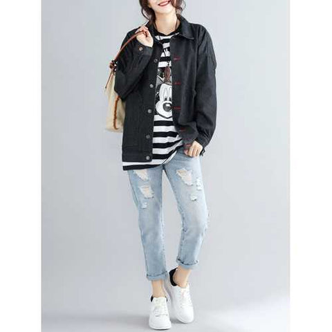 Plus Size Casual Women Batwing Sleeve Black Denim Jackets