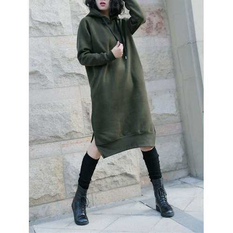 Casual Women Long Sleeve Sweatshirt Solid Color Pockets Dresses