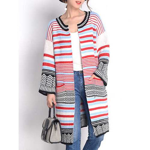 Women Long Sleeve Multicolor Stripe Double Pocket Knit Cardigan
