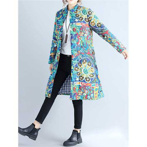 New Casual Women Loose Cotton Linen Long Windbreaker Jacket