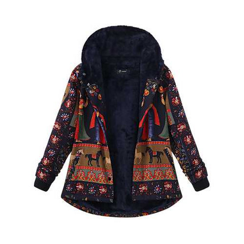 Plus Size Women Printing Hood Thick Warm Coats