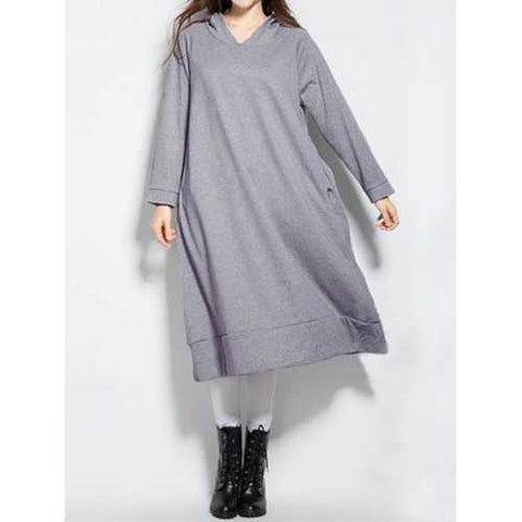 S-5XL Casual Women Hooded Pockets Long Sweatshirts