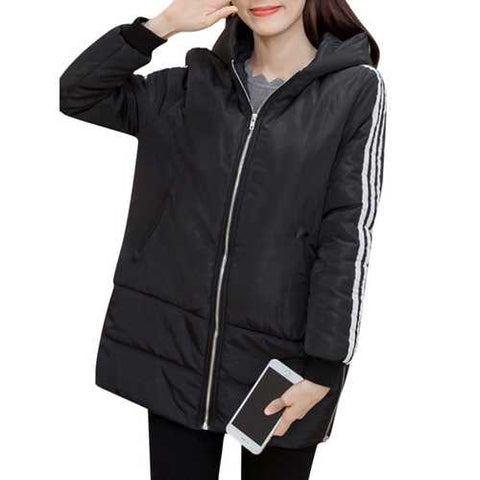 S-5XL Casual Women Striped Zipper Hooded Coat
