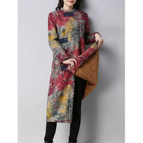 Vintage Women Floral Printed Thick Coats