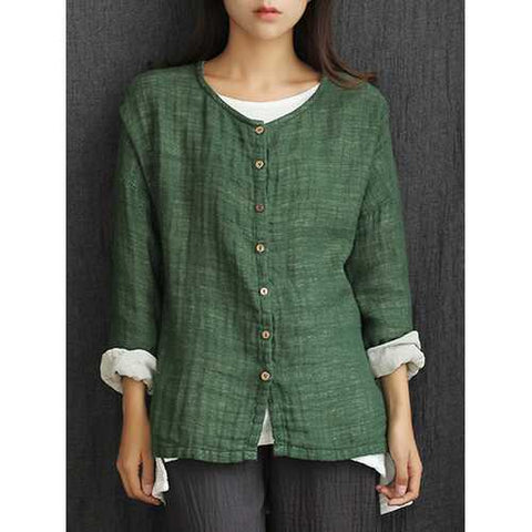 Mori Girl Vintage Pure Color Button Up Cardigan Shirt
