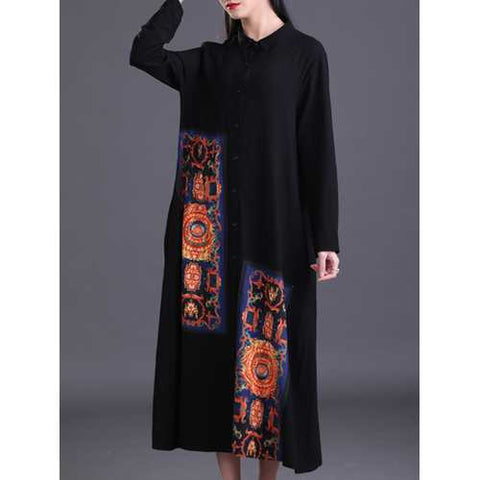 M-5XL Women Patchwork Vintage Maxi Dress