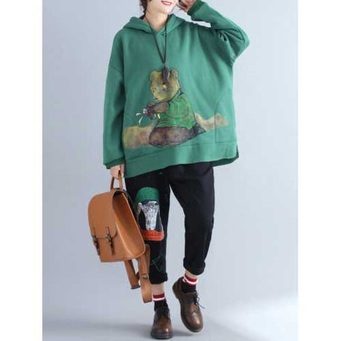 Plus Size Casual Women Green Bear Hooded Thick Sweatshirts