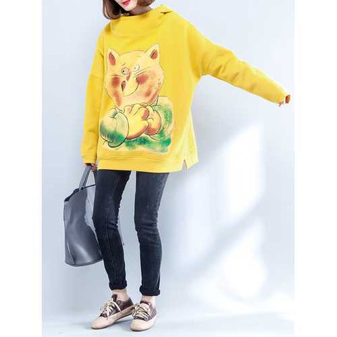 Plus Size Women Yellow Hooded Cat Thick Sweatshirts