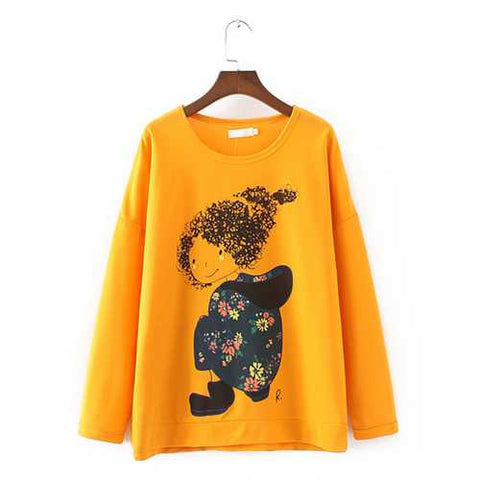 Plus Size Casual Women Girl Printed Sweatshirts