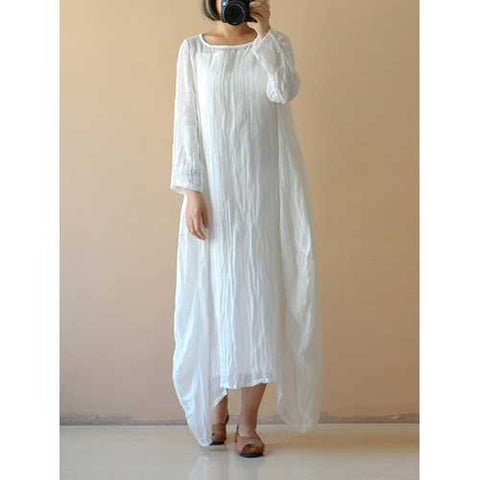 Celmia Women Retro Linen Maxi Dress