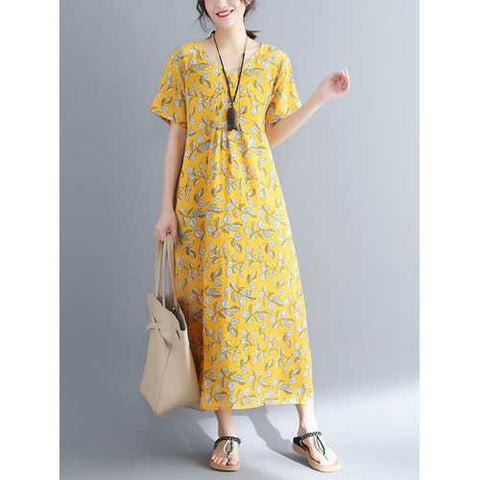 Casual Women Floral Printed Short Sleeve V-Neck Dress