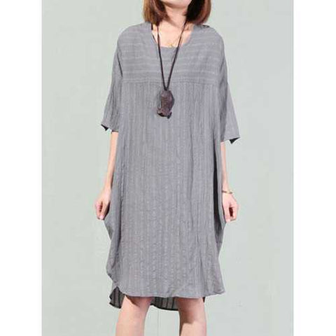 Women Stripe O-neck Batting Sleeve Loose Dress