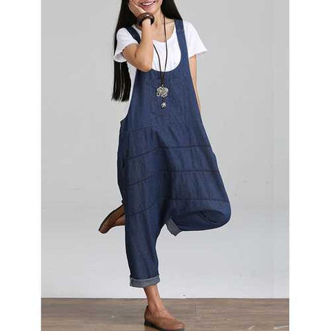 Womens Strappy Denim Pockets Casual Harem Jumpsuit