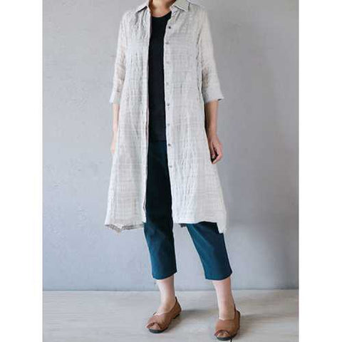 Turn-Down Collar 3/4 Sleeve Plaid Button Long Cardigans
