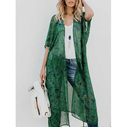 Casual Women Printed Loose Bat Sleeve Cardigans