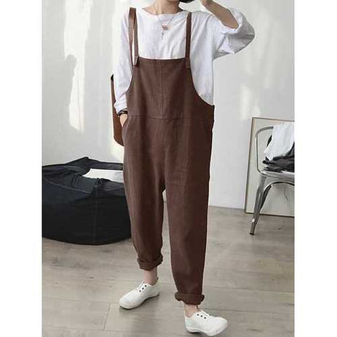 Women Straps Sleeveless Loose Cotton Overalls Jumpsuit