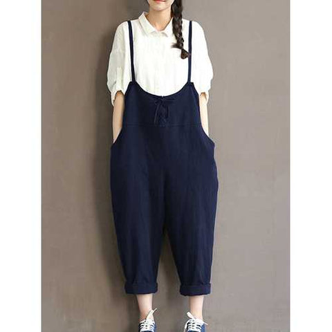 Women Sleeveless Straps Cotton Harem Jumpsuit Overall