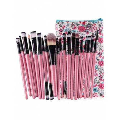 Professional 20Pcs Ultra Soft Foundation Eyebrow Eyeshadow Concealer Brush Set with Bag - Pink