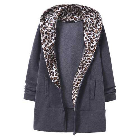 Casual Women Fleece Leopard Hooded Zipper Coat